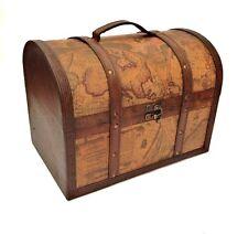 Pirate Treasure Chest Vintage Colonial Map Atlas Design Storage Trunk Wedding Large