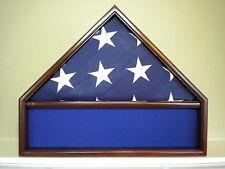 5 X 9 MAHOGANY FLAG & MEMORABILIA DISPLAY CASE MILITARY SHADOW BOX FUNERAL USA