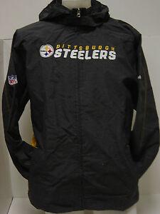 Youth Large (14-16) Reebok Steelers Lightweight Wind Hooded Onfield NFL Jacket