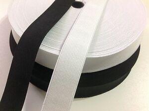 Flat Woven Elastic 25mm / 1 inch wide Black or White Premium Grade UK SELLER(L1)