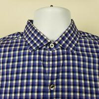 Zachary Prell Mens Blue purple Check Plaid Dress Button Shirt Size Small S