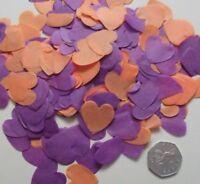 Purple/Orange Love Heart Wedding Confetti - Bio Degradable  - CONES can be added