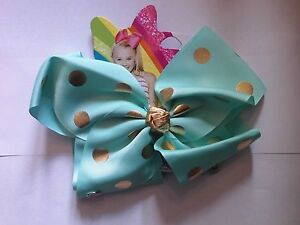 JOJO SIWA LARGE GREEN with GOLD SPOTS HAIR BOW