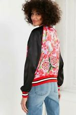 Silence & Noise Urban Outfitters Arielle Floral Butterfly Bird Bomber Jacket S