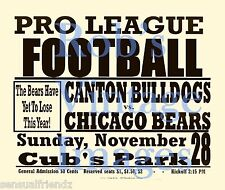 Chicago Bears Canton Bulldogs Football Game poster 1926 Nfl Man Cave 8 x11 s