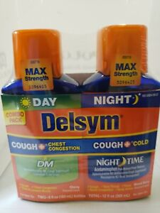 Delsym Max Day Cough + Chest Congestion  DM & Night Cold & Cough Liquid exp 1/22
