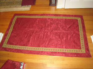 Antique Red Damask Cloth with Gold Braiding Edge