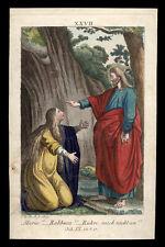 santino incisione1800 S.MARIA MADDALENA INCONTRA IL CRISTO RISORTO  dip. a mano