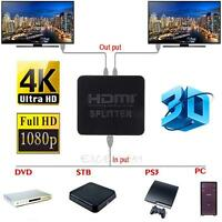 Ultra HD 4K HDMI Splitter 1X2 2 Ports Repeater Amplifier Hub 3D 1080p 1In 2Out