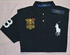 New XL POLO RALPH LAUREN Men Big Pony Rugby shirt top short sleeve Black X-large