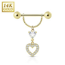 14K Solid GOLD Nipple Shield Ring Heart Gem Dangle Bar Barbells Piercing Jewelry