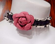 black/white tattered cloth band choker with pink rose flower rosette necklace 1Y