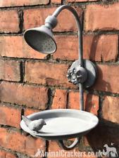 Old Shower Head Bird Bath Feeder sturdy metal easy hang garden bird lover gift
