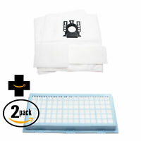 2 Vacuum Bags, 2 Micro & 2 HEPA Filters for Miele S401i, S800, 7000 Series, S834