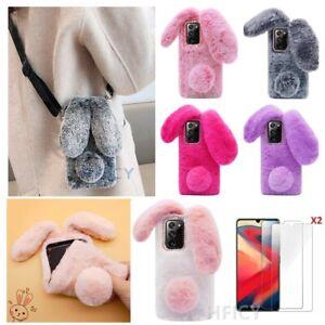 For Xiaomi Redmi 8 8A Note 9 10 Bunny Rabbit Fluffy Plush Soft Winter Phone Case