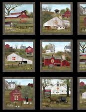 "24"" Fabric Panel - Elizabeth's Studio Headin' Home Amish Quilt Barn Blocks Black"