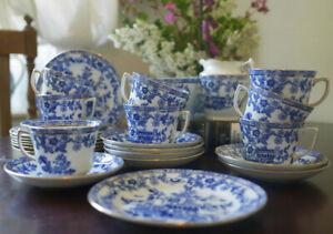Antique Blue & White Burmah Tea Set serves 9