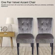 Velvet Wing Back Occasional Accent Bedroom Lounge Dining Chair Fabric UK