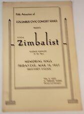 1937 Efrem Zimbalist Violinist Concert Program Memorial Hall Columbus Ohio Oh