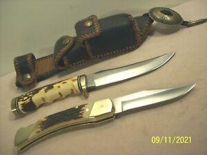 90's~SCHRADE~UNCLE HENRY~155UH & LB8~POCKET & HUNTING KNIFE COMBO +CUSTOM SHEATH