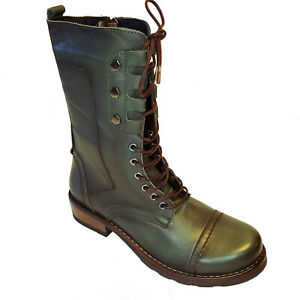 Hunter Green Leather Fall Boot by Spring Step Military Combat Shoe Zippper Side