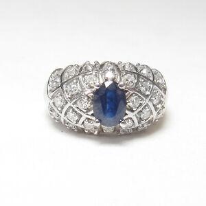 BF EFFY Estate 14K White Gold 1.10 Ct Natural Cobalt Blue Sapphire Diamond Ring