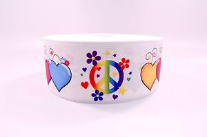 """3"""" Wide Peace Sign and Hearts Printed on Grosgrain Cheer Bow Ribbon"""