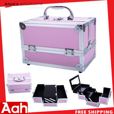 Travel Aluminum Makeup Train Case Cosmetic Tattoo Jewelry Box With Mirror Pink