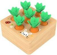 Educational Wooden Toys for 1 Year Old Toddlers Carrots Harvest Shape Size Game