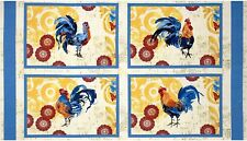 4 Roosters Bright and Early Placemat panel Fabric 100% Cotton Wilmington Prints