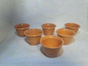 6 Vtg. Orange Genuine Oven Serve Ware HLC Homer Laughlin Custard Dessert Cups