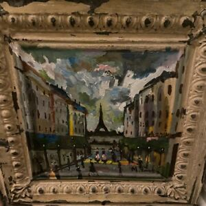 Mladen Novak Original Acrylic Painting on Antique Ceiling Tin *PARIS*