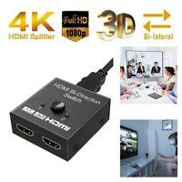 4K 2K 1080P Ultra HD UHD QHD HDMI Switch 2 Ports Bi-directional 1x2