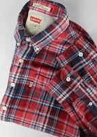 LEVI STRAUSS & CO. SLIM FIT Men's SMALL Red Checked Flannel Shirt 34485_GS