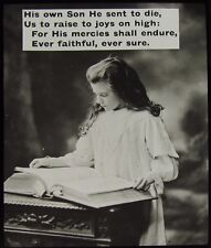 Glass Magic Lantern Slide GIRL READING BIBLE WITH RELIGIOUS TEXT C1900 PHOTO