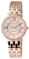 Excellanc 1511 Damen Armbanduhr roségoldfarben mit Strass Uhr Damenuhr