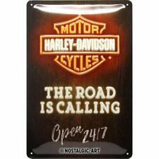 Harley Davidson la Route Est D'Appel Fluo Look Métal Signe 200mm x 300mm (Na )
