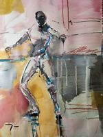 "JOSE TRUJILLO - Expressionist Abstract 22x30"" Acrylic Painting Fencing Figure"