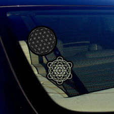"Merkaba Leaf And Flower of Life Sacred Geometry Decal Stickers Pack 3.75"" Each"