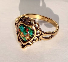 Gold Nickel Ring with Turquoise, Silver, Gold, Copper Flecks, Size 6-1/2