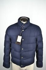 NWT Brioni Quilted 100% Cashmere Blue Puffer Bomber Mens Jacket Sz 44 IT