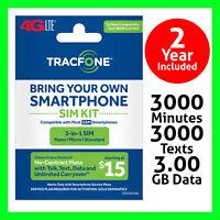 Tracfone TRIPLE SIM card w $125 Plan 2 Years 3000 Min/Text/MB Data on ATT GSM