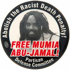 "FREE MUMIA 2"" BUTTON FROM HIS PARTISAN DEFENSE COMMITEE."