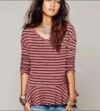 Women's Free People Striped Waffle Knit Thermal Peplum Shirt Size Medium
