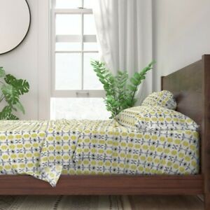 Honey Bee Bee Hive Flower Stripe 100% Cotton Sateen Sheet Set by Roostery