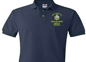 NAVAL AIR STATION GROSS ILE MICHIGAN  EMBROIDERED POLO SHIRT/SWEAT/JACKET.