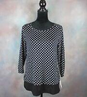 NWT! Croft & Barrow Women's Shirt Size Medium Black & White 3/4 Sleeve Rayon
