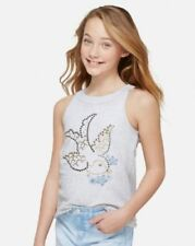 Justice 14 Gold Studded High Neck Tank Bird w Flowers Pearl Heather Gray