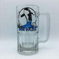 "Vintage 1985 SeaWorld Shamu Killer Whale LARGE Glass Beer Mug Stein 3lb 8"" Tall"