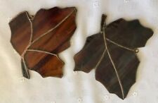Fall Leaves Stained Glass Suncatcher - Lot of 2